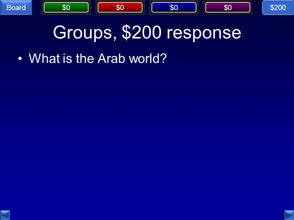 $0 Board Groups, $200 response What is the Arab world $200