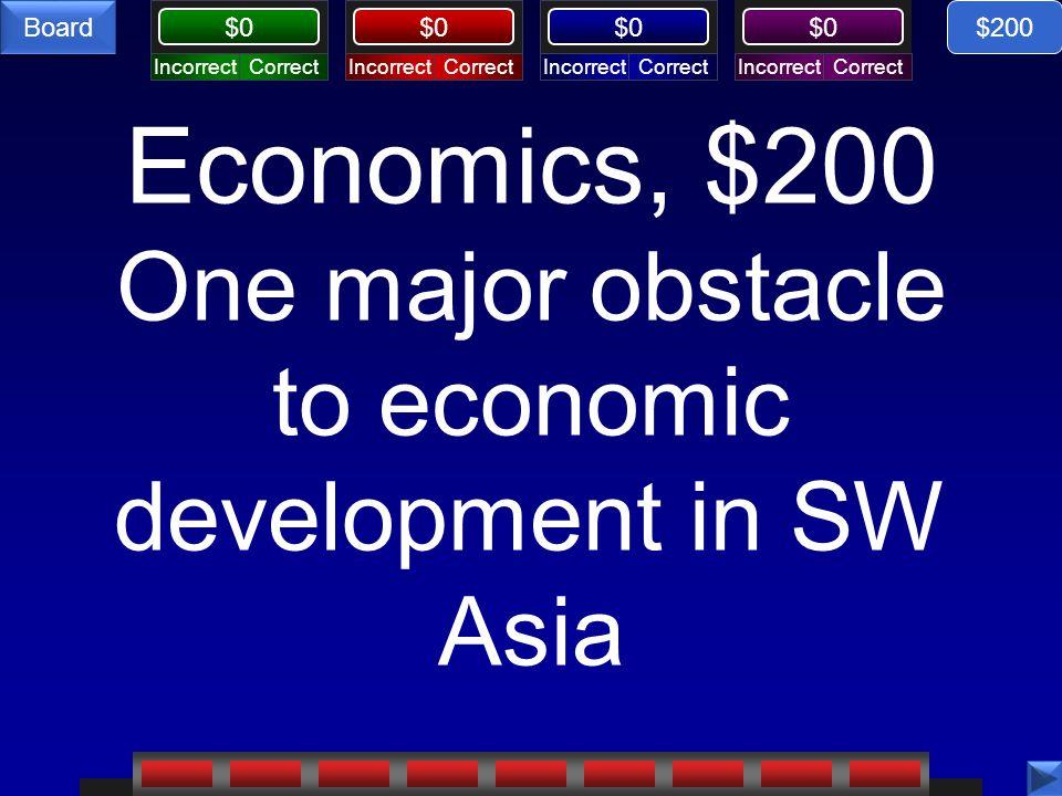 CorrectIncorrectCorrectIncorrectCorrectIncorrectCorrectIncorrect $0 Board Economics, $200 One major obstacle to economic development in SW Asia $200