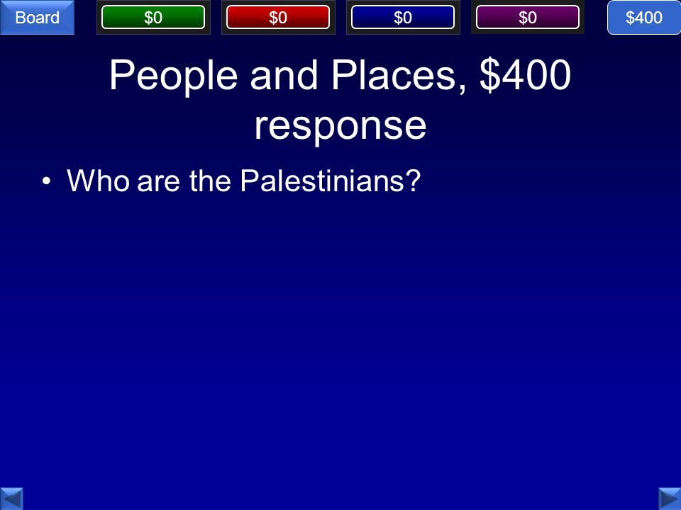 $0 Board People and Places, $400 response Who are the Palestinians $400