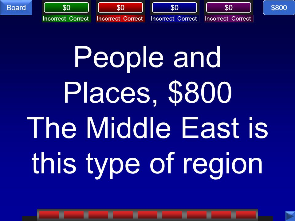 CorrectIncorrectCorrectIncorrectCorrectIncorrectCorrectIncorrect $0 Board People and Places, $800 The Middle East is this type of region $800