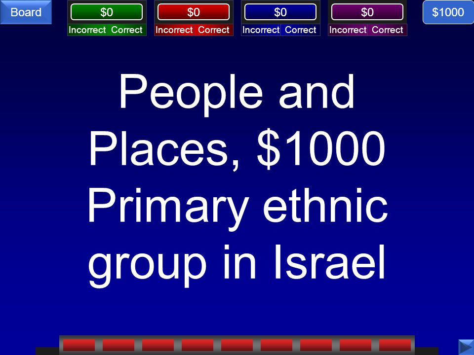 CorrectIncorrectCorrectIncorrectCorrectIncorrectCorrectIncorrect $0 Board People and Places, $1000 Primary ethnic group in Israel $1000