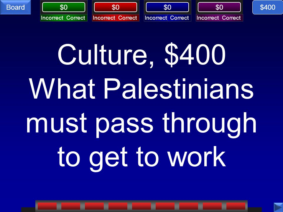 CorrectIncorrectCorrectIncorrectCorrectIncorrectCorrectIncorrect $0 Board Culture, $400 What Palestinians must pass through to get to work $400