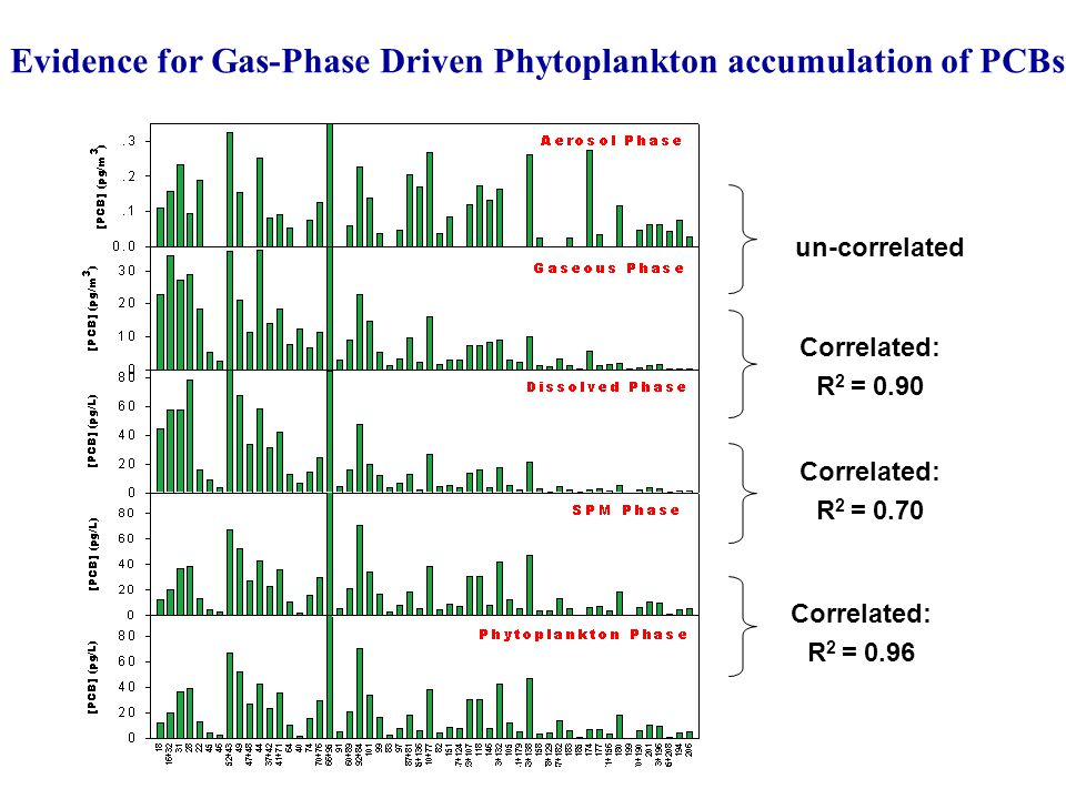 Correlated: R 2 = 0.90 un-correlated Correlated: R 2 = 0.96 Correlated: R 2 = 0.70 Evidence for Gas-Phase Driven Phytoplankton accumulation of PCBs