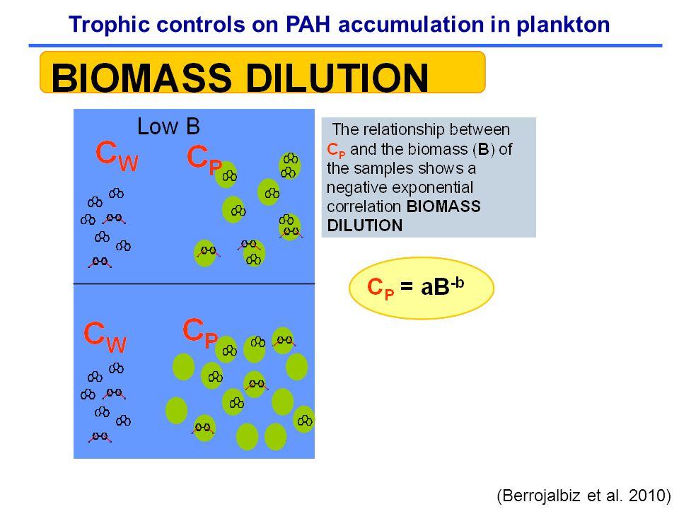 Trophic controls on PAH accumulation in plankton (Berrojalbiz et al. 2010)