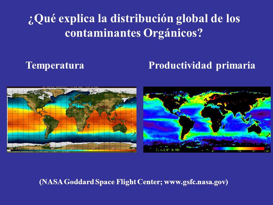 ¿Qué explica la distribución global de los contaminantes Orgánicos? TemperaturaProductividad primaria (NASA Goddard Space Flight Center; www.gsfc.nasa