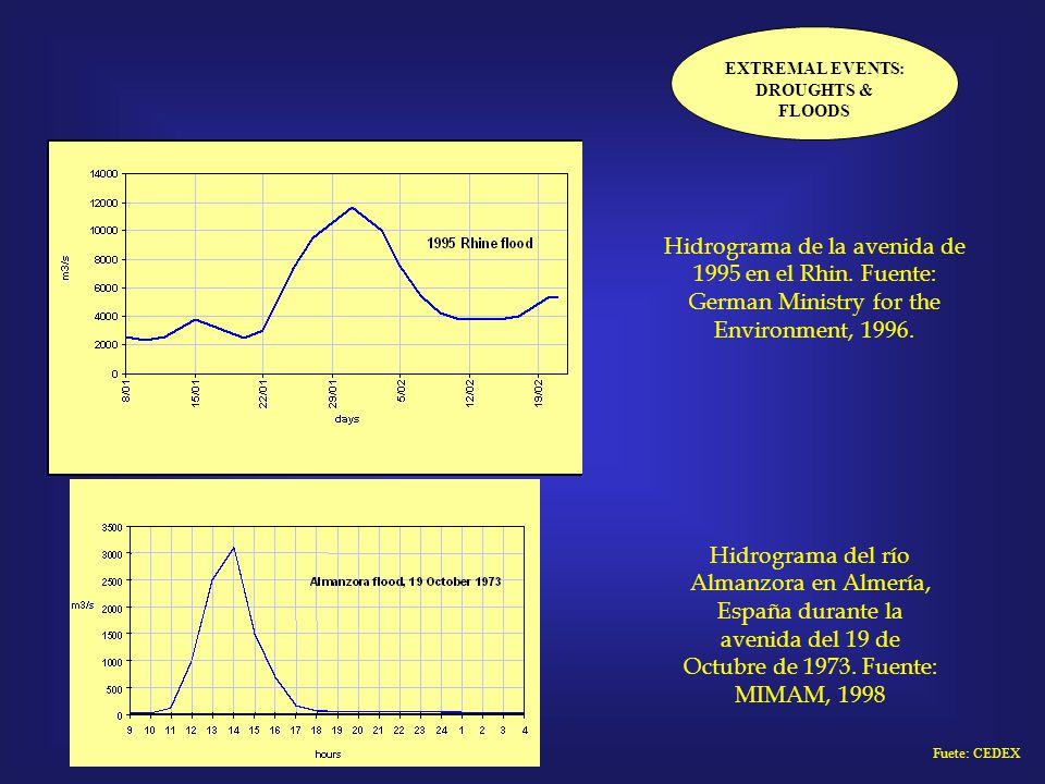 EXTREMAL EVENTS: DROUGHTS & FLOODS Hidrograma de la avenida de 1995 en el Rhin. Fuente: German Ministry for the Environment, 1996. Hidrograma del río