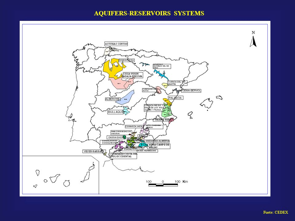 Fuete: CEDEX AQUIFERS-RESERVOIRS SYSTEMS