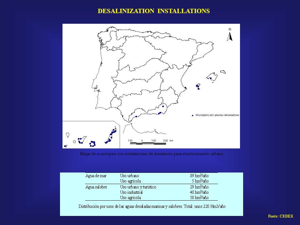 Fuete: CEDEX DESALINIZATION INSTALLATIONS