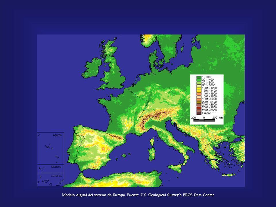 Modelo digital del terreno de Europa. Fuente: U.S. Geological Survey's EROS Data Center