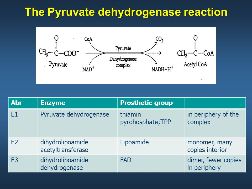 The Pyruvate dehydrogenase reaction AbrEnzymeProsthetic group E1Pyruvate dehydrogenasethiamin pyrohosphate;TPP in periphery of the complex E2dihydrolipoamide acetyltransferase Lipoamidemonomer, many copies interior E3dihydrolipoamide dehydrogenase FADdimer, fewer copies in periphery