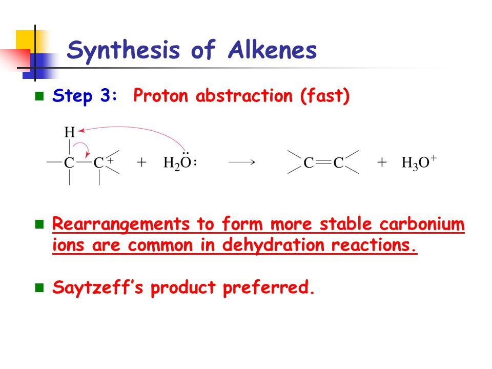 Synthesis of Alkenes Step 3: Proton abstraction (fast) Rearrangements to form more stable carbonium ions are common in dehydration reactions. Saytzeff