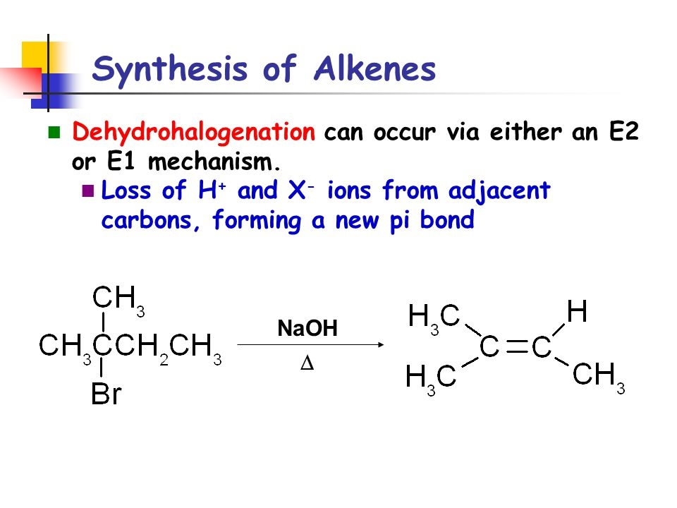 Synthesis of Alkenes Dehydrohalogenation can occur via either an E2 or E1 mechanism. Loss of H + and X - ions from adjacent carbons, forming a new pi