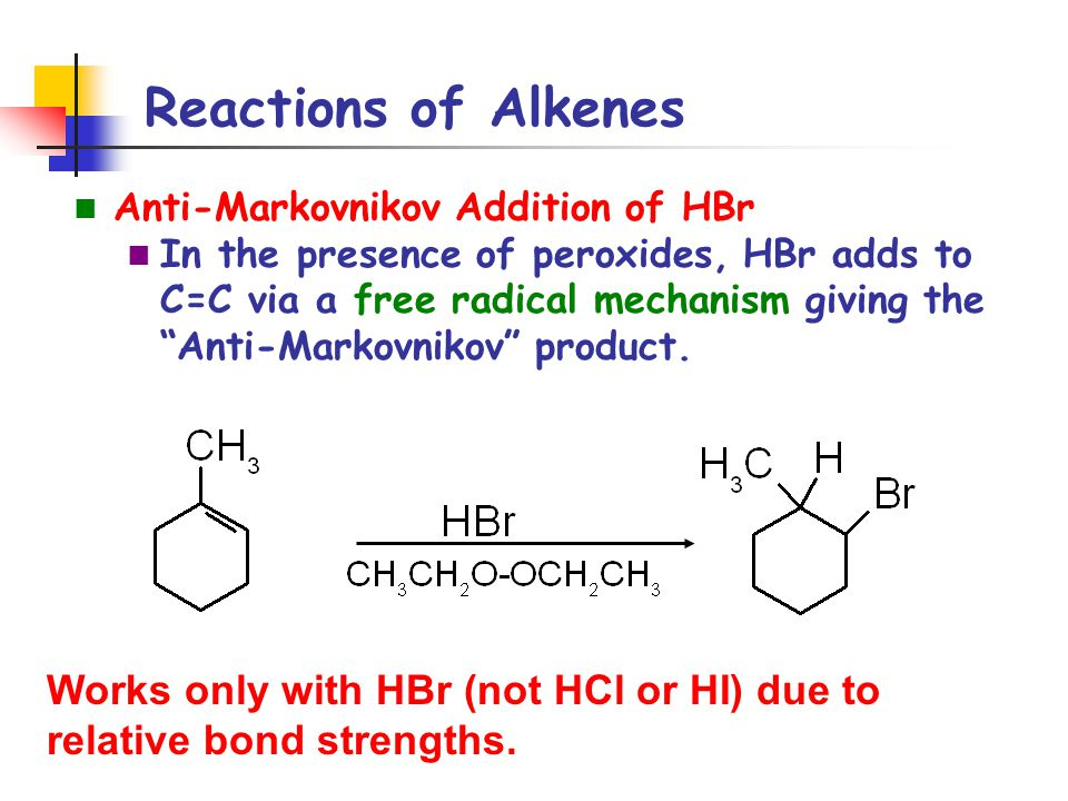 """Reactions of Alkenes Anti-Markovnikov Addition of HBr In the presence of peroxides, HBr adds to C=C via a free radical mechanism giving the """"Anti-Mark"""