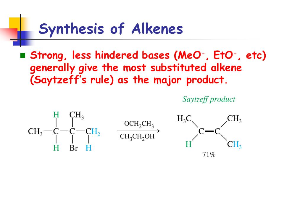 Reactions of Alkenes Example: Predict the product formed in each of the following reactions.