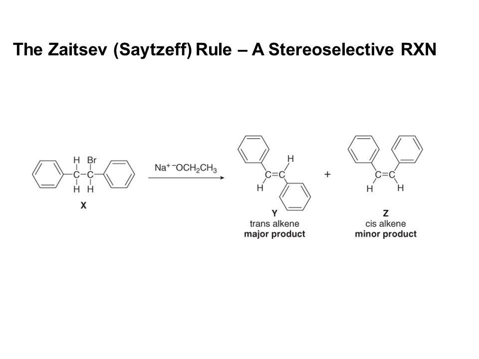 The Zaitsev (Saytzeff) Rule – A Stereoselective RXN