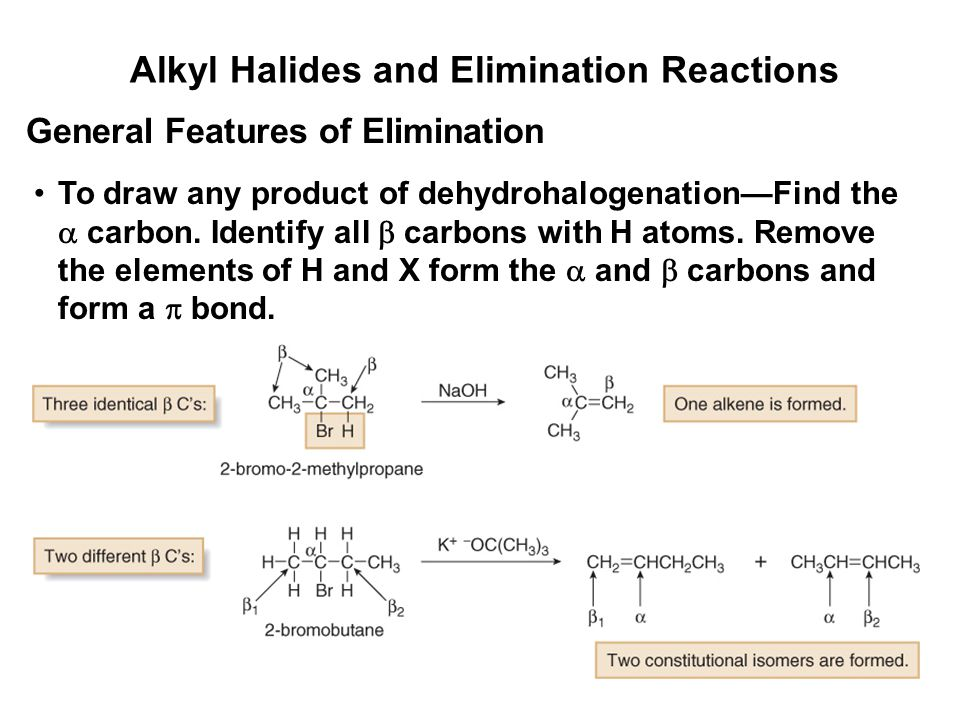 Alkyl Halides and Elimination Reactions To draw any product of dehydrohalogenation—Find the  carbon. Identify all  carbons with H atoms. Remove the