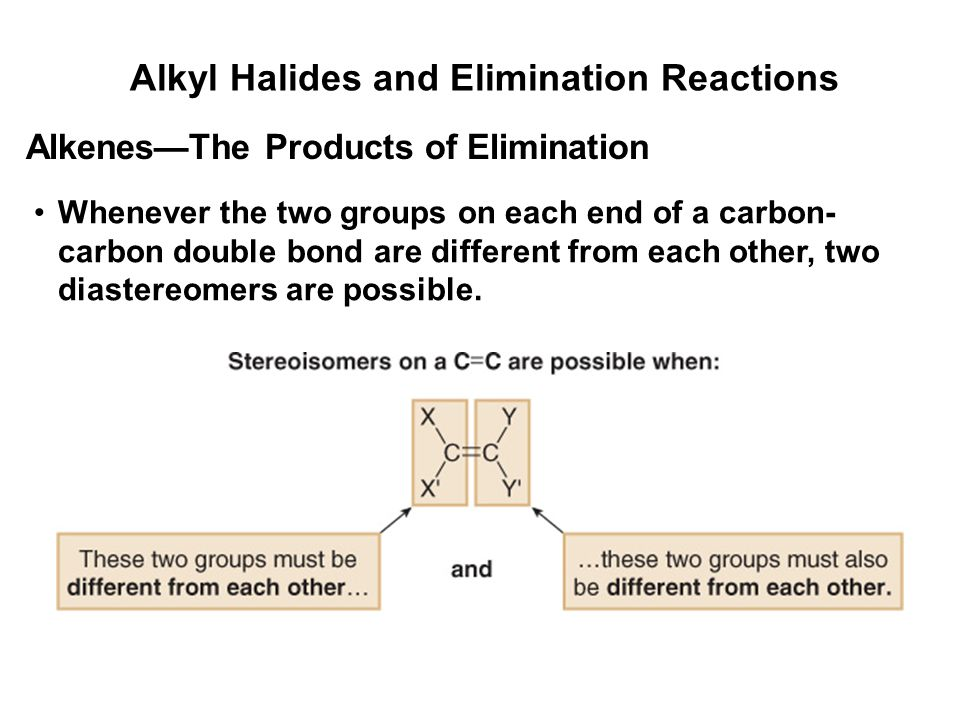 Alkyl Halides and Elimination Reactions Whenever the two groups on each end of a carbon- carbon double bond are different from each other, two diaster