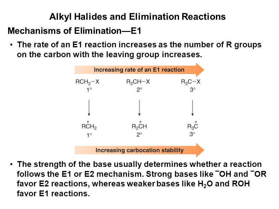 Alkyl Halides and Elimination Reactions The rate of an E1 reaction increases as the number of R groups on the carbon with the leaving group increases.