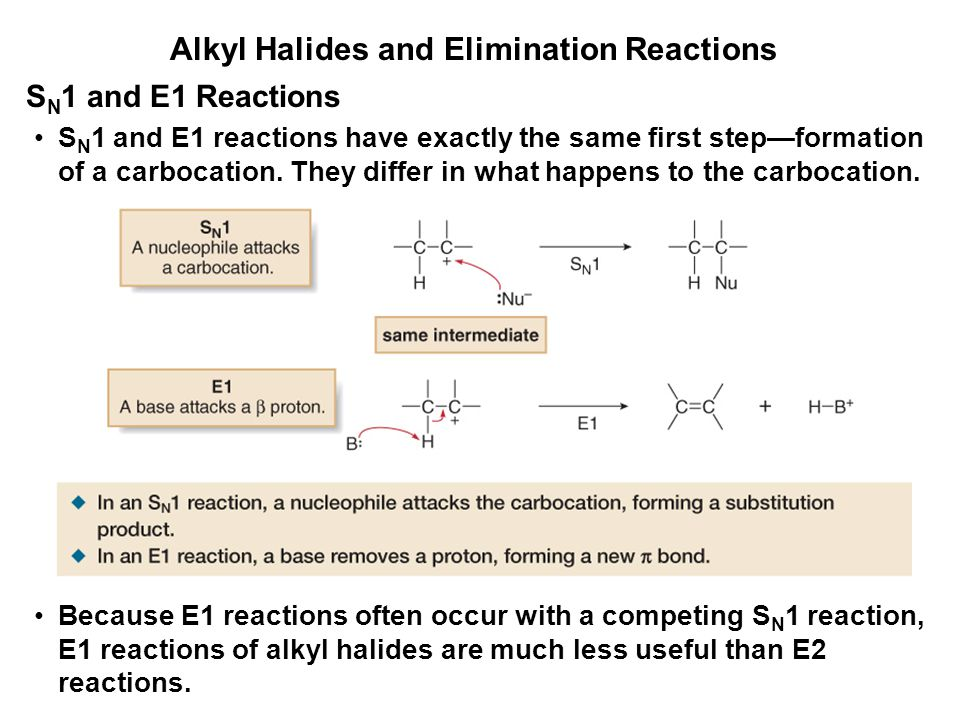 Alkyl Halides and Elimination Reactions S N 1 and E1 reactions have exactly the same first step—formation of a carbocation. They differ in what happen