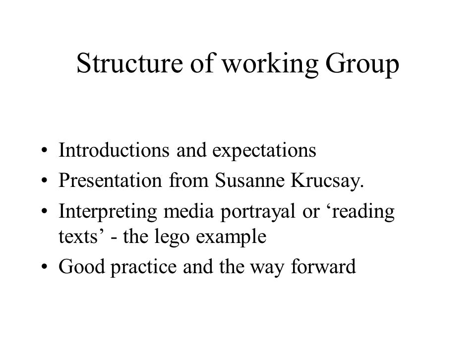 Structure of working Group Introductions and expectations Presentation from Susanne Krucsay.