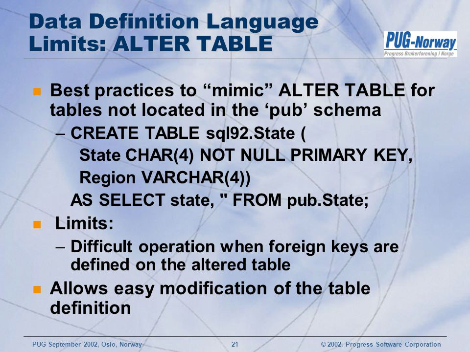 © 2002, Progress Software CorporationPUG September 2002, Oslo, Norway 21 Data Definition Language Limits: ALTER TABLE n Best practices to mimic ALTER TABLE for tables not located in the 'pub' schema –CREATE TABLE sql92.State ( State CHAR(4) NOT NULL PRIMARY KEY, Region VARCHAR(4)) AS SELECT state, FROM pub.State; n Limits: –Difficult operation when foreign keys are defined on the altered table n Allows easy modification of the table definition