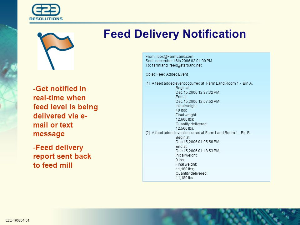 E2E-180204-01 Feed Delivery Notification -Get notified in real-time when feed level is being delivered via e- mail or text message -Feed delivery repo