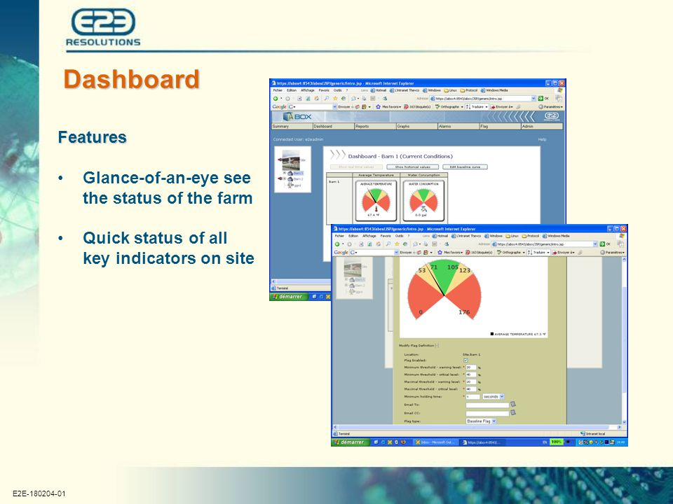 E2E-180204-01 Dashboard Features Glance-of-an-eye see the status of the farm Quick status of all key indicators on site