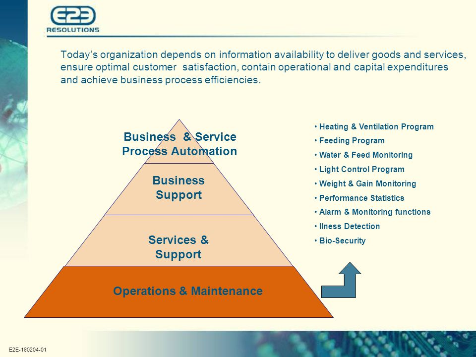 E2E-180204-01 Business Support Services & Support Operations & Maintenance Today's organization depends on information availability to deliver goods and services, ensure optimal customer satisfaction, contain operational and capital expenditures and achieve business process efficiencies.