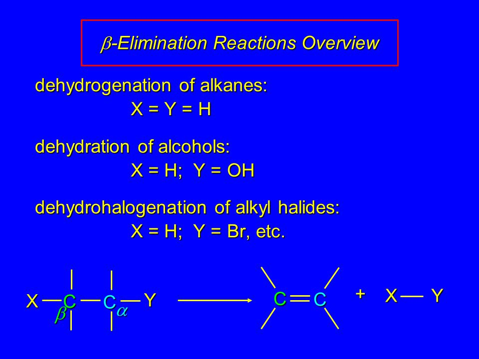 X Y dehydrogenation of alkanes: X = Y = H dehydration of alcohols: X = H; Y = OH dehydrohalogenation of alkyl halides: X = H; Y = Br, etc.