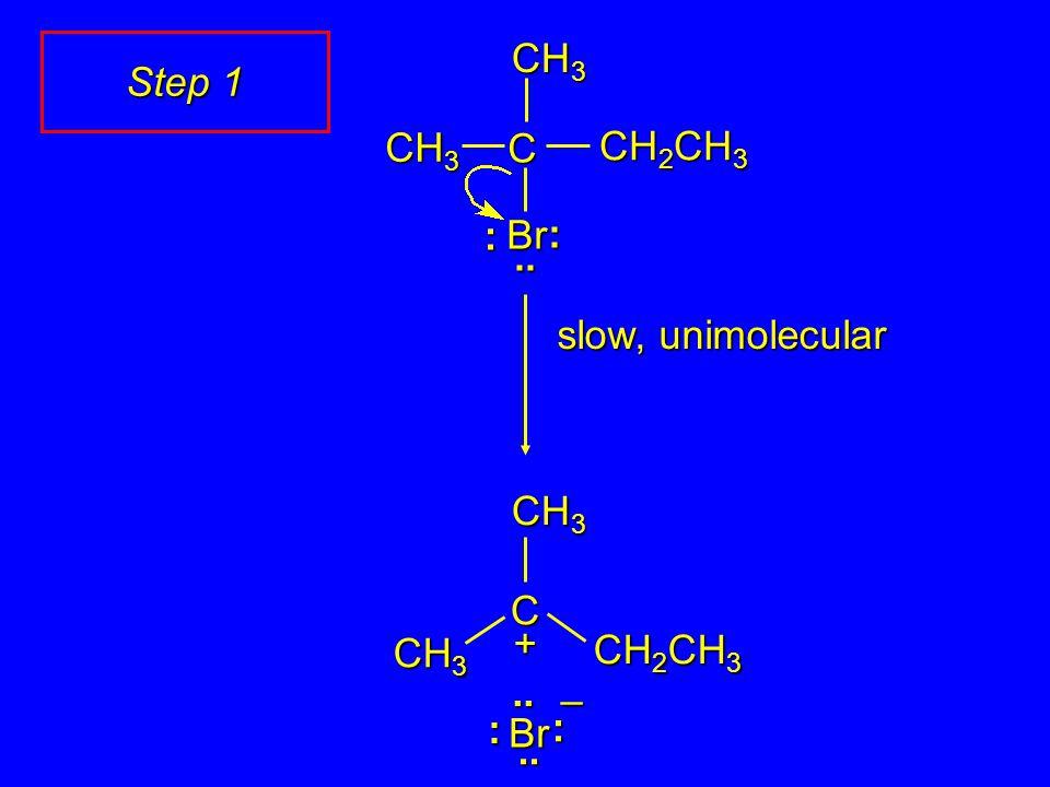 slow, unimolecular C CH 2 CH 3 CH 3 + CH 2 CH 3 Br CH 3 C :.. : :.. : Br..– Step 1