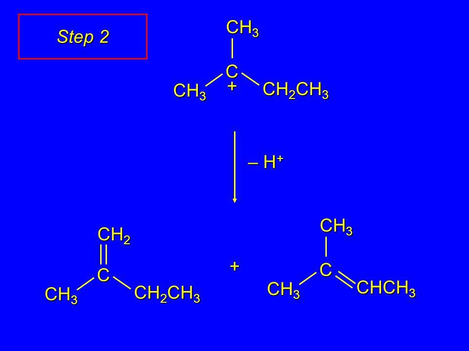 C CH 2 CH 3 CH 3 + C CH 2 CH 3 CH 3 CH 2 + C CHCH 3 CH 3 – H + Step 2