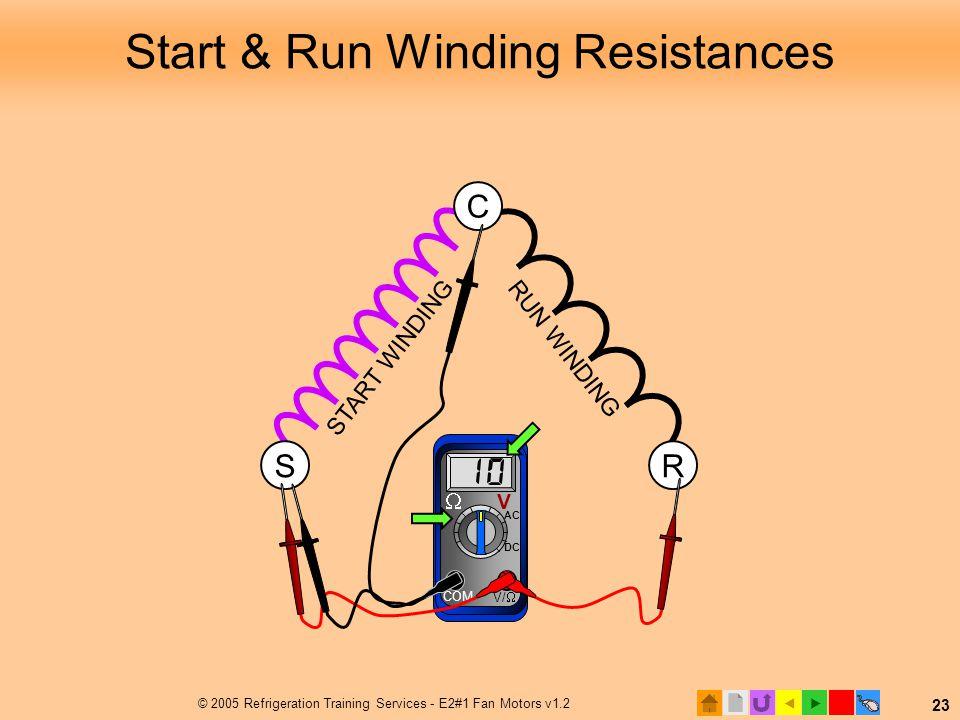  © 2005 Refrigeration Training Services - E2#1 Fan Motors v1.2 23 Ω Ω Ω RUN WINDING Start & Run Winding Resistances R START WINDING S C COM V/   V