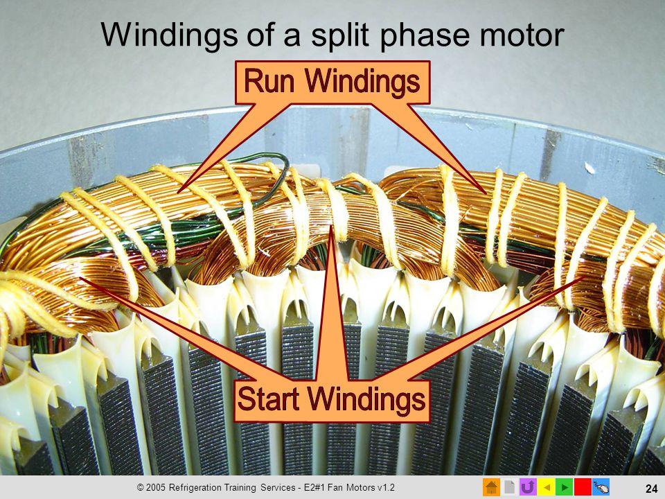 © 2005 Refrigeration Training Services - E2#1 Fan Motors v1.2 24 Windings of a split phase motor