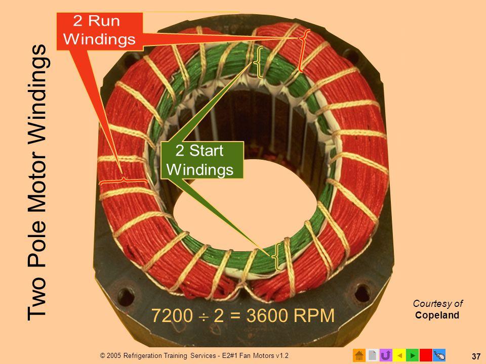  © 2005 Refrigeration Training Services - E2#1 Fan Motors v1.2 37 Courtesy of Copeland 7200  2 = 3600 RPM Two Pole Motor Windings