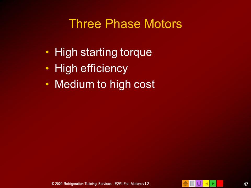  © 2005 Refrigeration Training Services - E2#1 Fan Motors v1.2 47 Three Phase Motors High starting torque High efficiency Medium to high cost