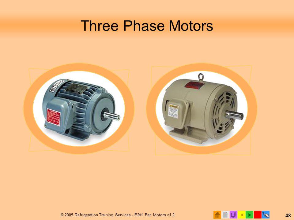  © 2005 Refrigeration Training Services - E2#1 Fan Motors v1.2 48 Three Phase Motors