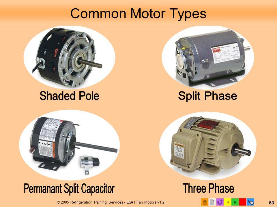  © 2005 Refrigeration Training Services - E2#1 Fan Motors v1.2 53 Common Motor Types