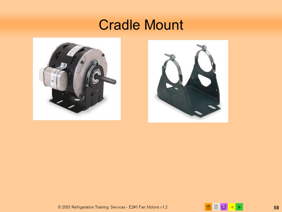  © 2005 Refrigeration Training Services - E2#1 Fan Motors v1.2 58 Cradle Mount