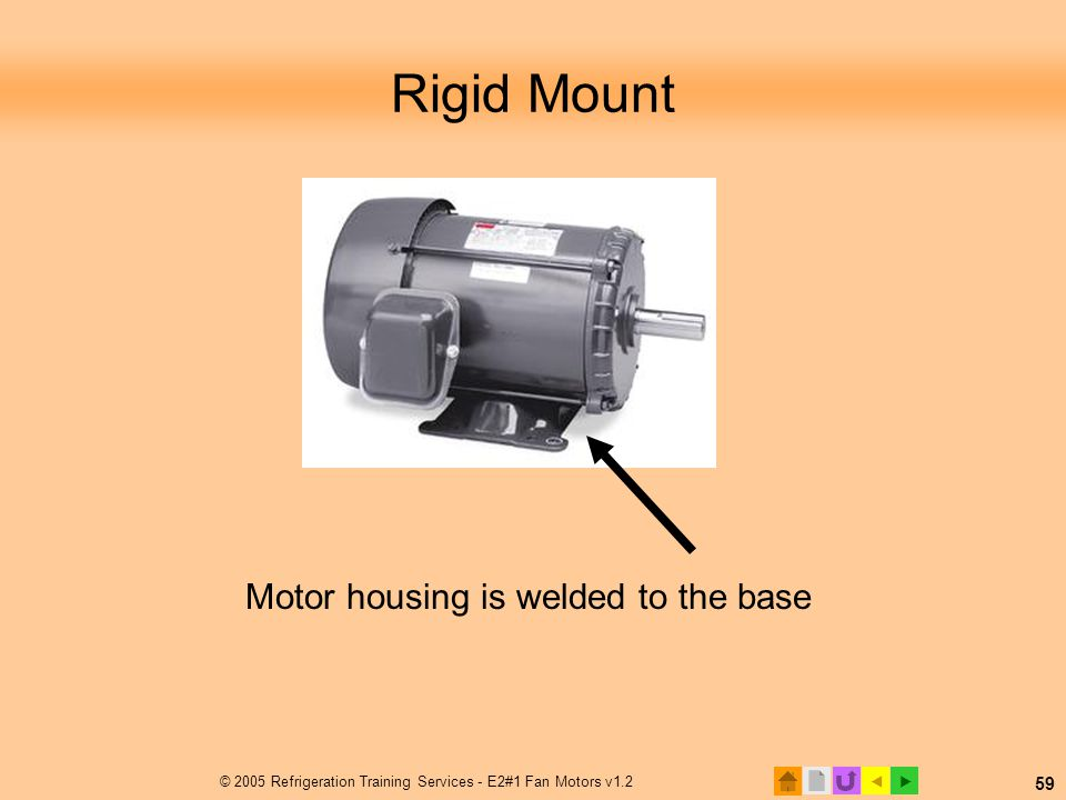  © 2005 Refrigeration Training Services - E2#1 Fan Motors v1.2 59 Rigid Mount Motor housing is welded to the base