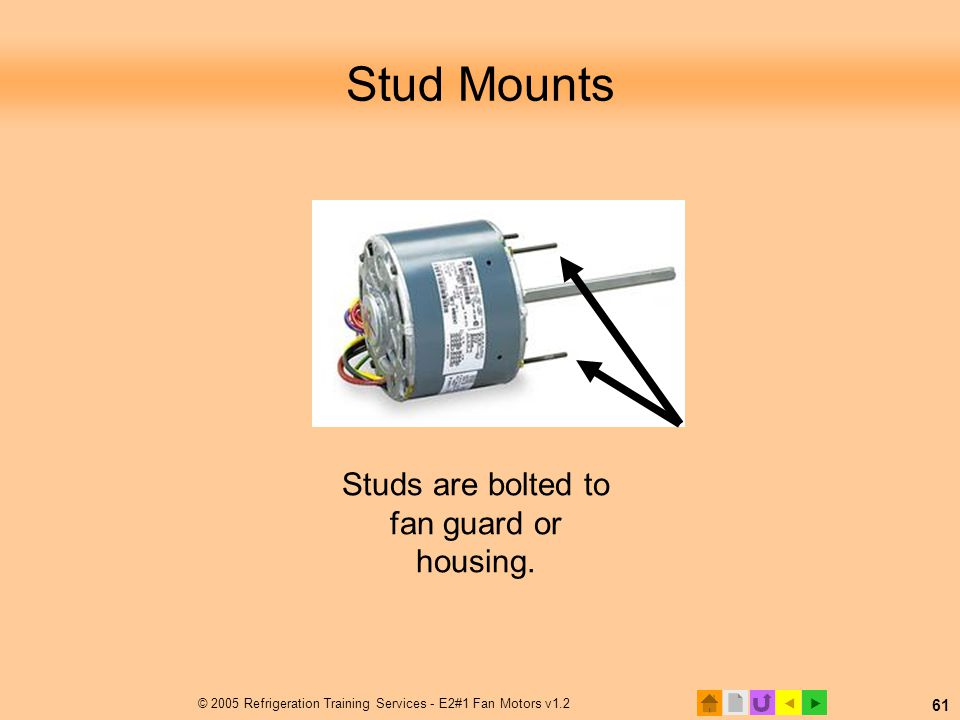  © 2005 Refrigeration Training Services - E2#1 Fan Motors v1.2 61 Stud Mounts Studs are bolted to fan guard or housing.
