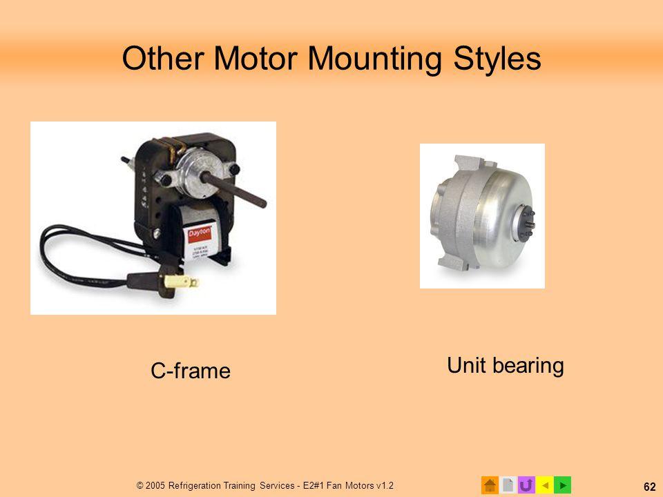  © 2005 Refrigeration Training Services - E2#1 Fan Motors v1.2 62 Other Motor Mounting Styles Unit bearing C-frame