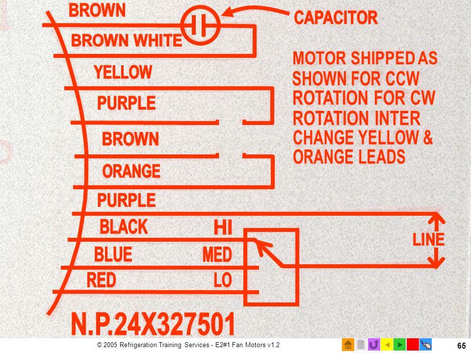  © 2005 Refrigeration Training Services - E2#1 Fan Motors v1.2 65 Motor Nameplate wiring diagram