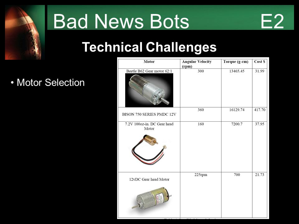 Bad News Bots E2 Technical Challenges Motor Selection