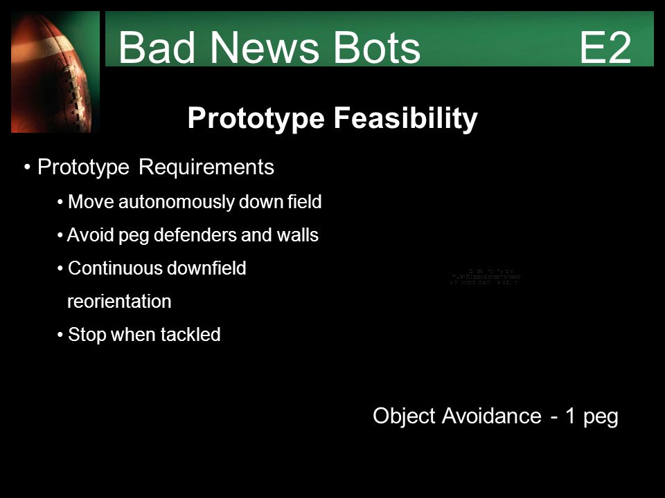 Bad News Bots E2 Prototype Feasibility Prototype Requirements Move autonomously down field Avoid peg defenders and walls Continuous downfield reorientation Stop when tackled Object Avoidance - 1 peg