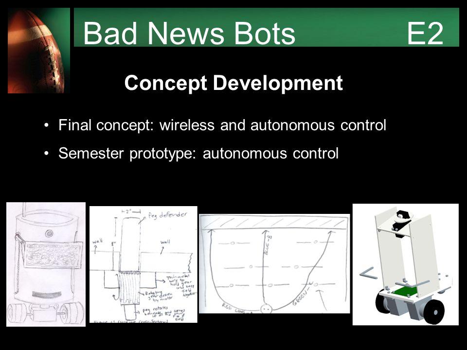 Bad News Bots E2 Concept Development Final concept: wireless and autonomous control Semester prototype: autonomous control