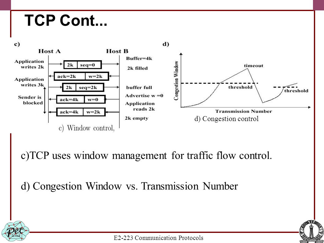 E2-223 Communication Protocols TCP Cont... c)TCP uses window management for traffic flow control. d) Congestion Window vs. Transmission Number d) Cong