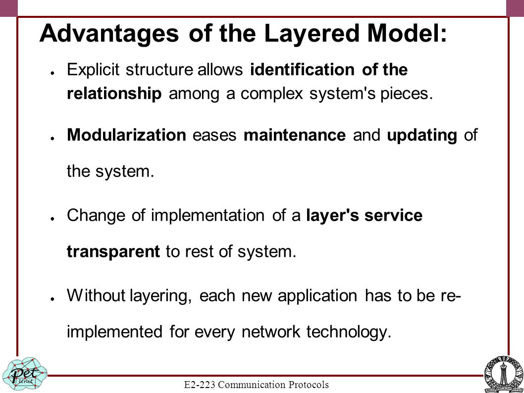 E2-223 Communication Protocols Advantages of the Layered Model: ● Explicit structure allows identification of the relationship among a complex system'