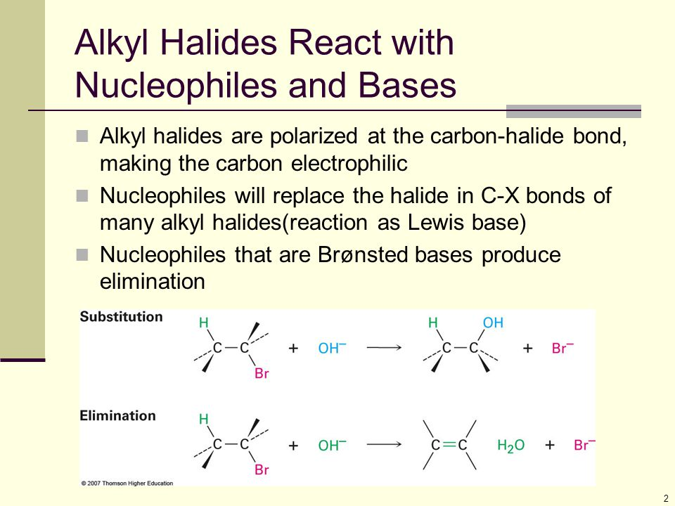 13 Relative Reactivity of Nucleophiles Depends on reaction and conditions More basic nucleophiles react faster Better nucleophiles are lower in a column of the periodic table Anions are usually more reactive than neutrals