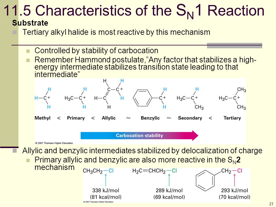 21 11.5 Characteristics of the S N 1 Reaction Substrate Tertiary alkyl halide is most reactive by this mechanism Controlled by stability of carbocatio