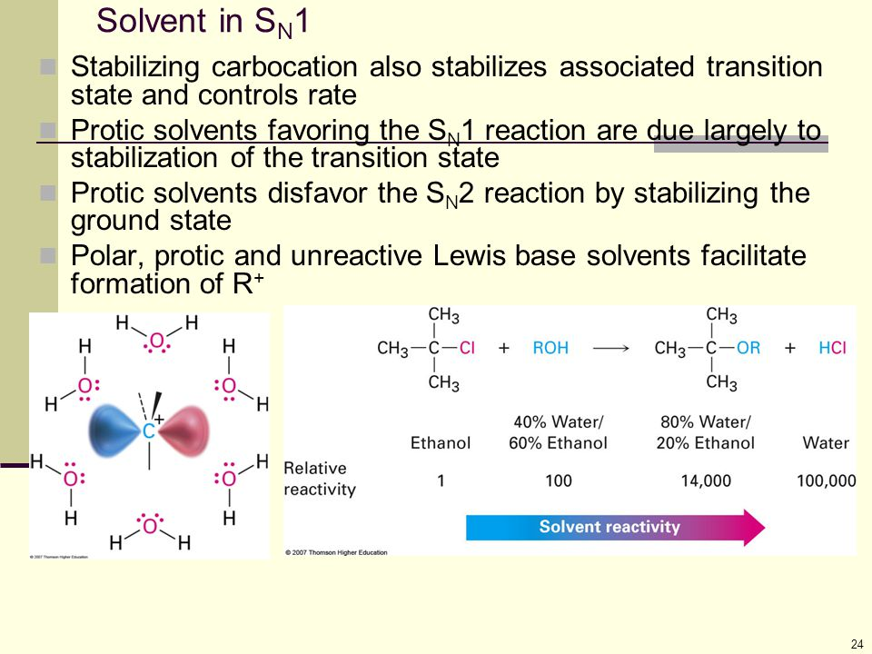 24 Solvent in S N 1 Stabilizing carbocation also stabilizes associated transition state and controls rate Protic solvents favoring the S N 1 reaction